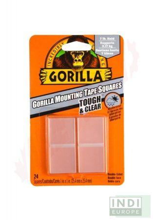 Gorilla Mounting Clear Tape Squares Kristálytiszta Kétoldalas Ragasztószalag 2,5cm-es négyzetek 24db/csomag